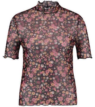Catwalk Junkie T-Shirt »CATWALK JUNKIE TS Hippie Thought Kurzarm-Shirt durchsichtiges Damen Blumen-Shirt Freizeit-Shirt Schwarz/Bunt«