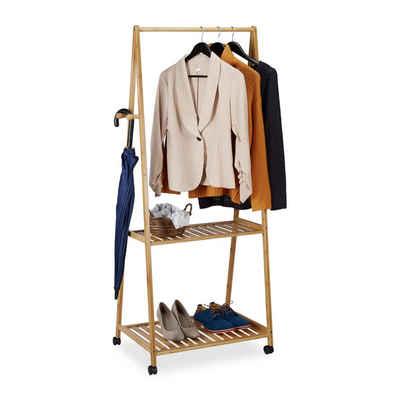 relaxdays Kleiderstange »Bambus Kleiderständer auf Rollen«