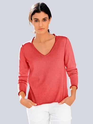 Alba Moda V-Ausschnitt-Pullover im Oildye-Look