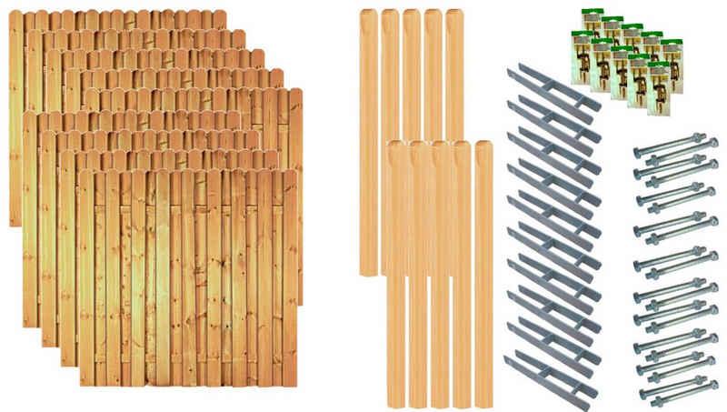 Tetzner & Jentzsch Bohlenzaun »Los Angeles 7«, (Set), 9 Elemente, LxH: 1710x180 cm