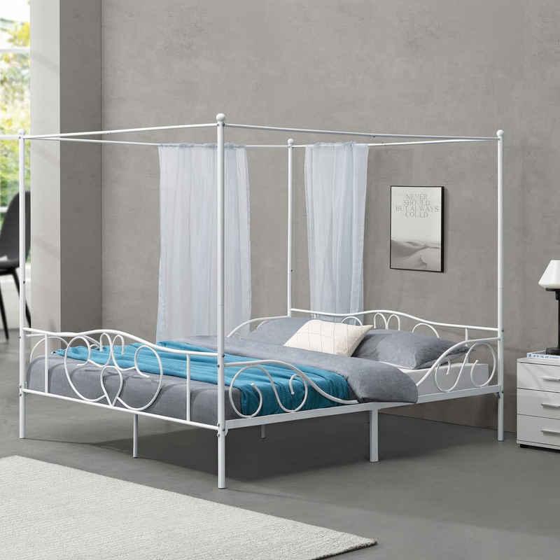 en.casa Himmelbett, »Finström« Metallbett Doppelbett 180x200cm Weiß