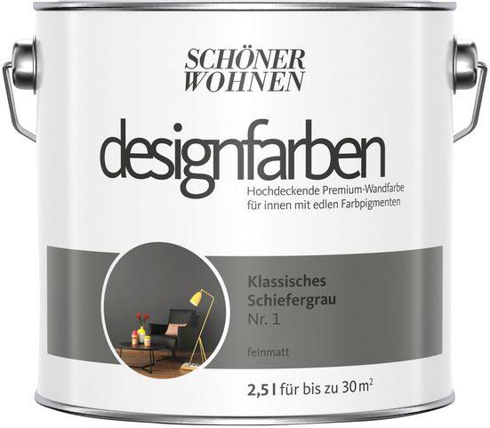 SCHÖNER WOHNEN-Kollektion Wand- und Deckenfarbe »Designfarben«, klassisches Schiefergrau Nr. 1, feinmatt 2,5 l