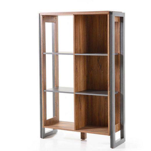 Lomadox Bücherregal »DALLAS-61«, Highboard Standregal im Industrial Stil Matera Anthrazit Stirling Oak Nb. B/H/T ca.: 90x140x35 cm