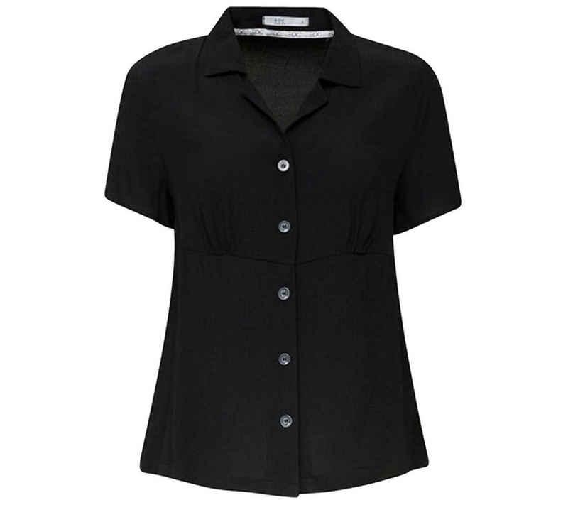 Esprit Hemdbluse »edc by ESPRIT Crepe-Bluse modisches Damen Blusen-Hemd mit Raffung und Knopfleiste Ausgeh-Bluse Schwarz«