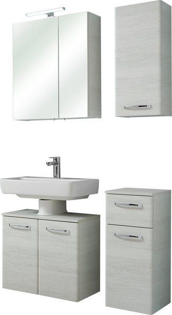 Badezimmer Sets - PELIPAL Badmöbel Set »Amora«, (Set, 4 St), Spiegelschrank inkl. LED Beleuchtung, Metallgriffe, Türdämpfer  - Onlineshop OTTO