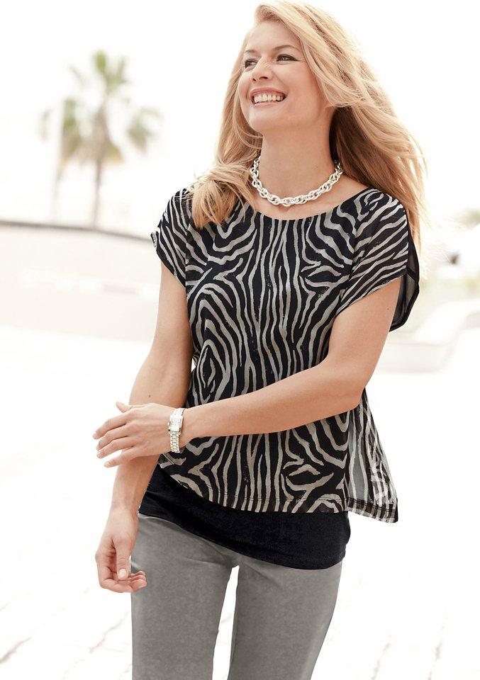 Ambria Longshirt im angesagtem Animal-Look in schwarz-beige-bedruckt