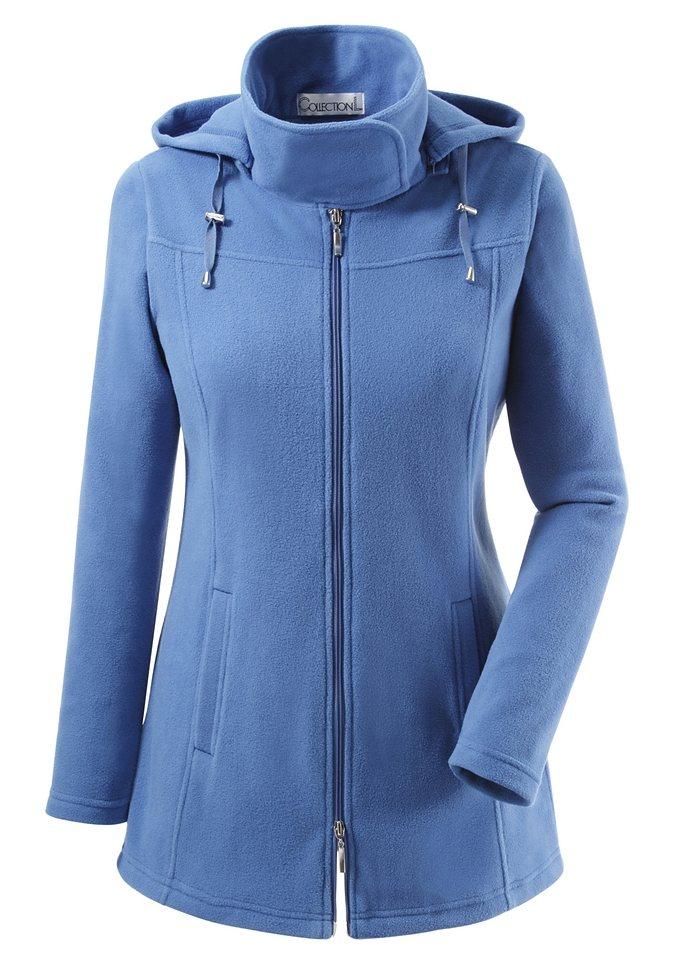 Collection L. Fleece-Jacke mit Kordelstopper in jeansblau