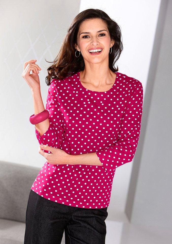 Classic Basics Shirt mit Rundhals-Ausschnitt in violett-getupft