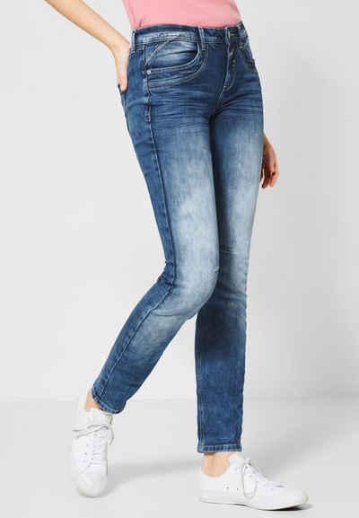 36 38 40 34 Stretchjeans Jeans Damen floralem Allover-Druck Blau Gr