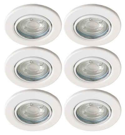 TRANGO LED Einbauleuchte, 6729-066G6KSDAK 6er Set LED Deckenstrahler in Weiß matt Rund inkl. 6x 5 Watt 3-Stufen dimmbar GU10 LED Leuchtmittel 6000K Tageslichtweiß (kaltwei), Einbaustrahler, Einbauspot, Deckenleuchte, Deckenspots