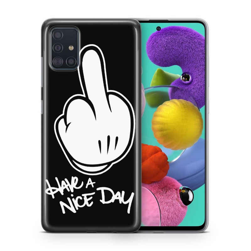 König Design Handyhülle, Schutzhülle für Samsung Galaxy A31 Motiv Handy Hülle Silikon Tasche Case Cover Have a nice Day