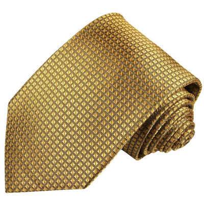 Paul Malone Krawatte »Herren Seidenkrawatte Designer Schlips modern uni Waffelmuster 100% Seide« Breit (8cm), gold 2045