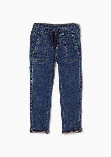 s.Oliver 5-Pocket-Jeans »Slim: Denim im Joggstyle« Waschung, angedeuteter Tunnelzug