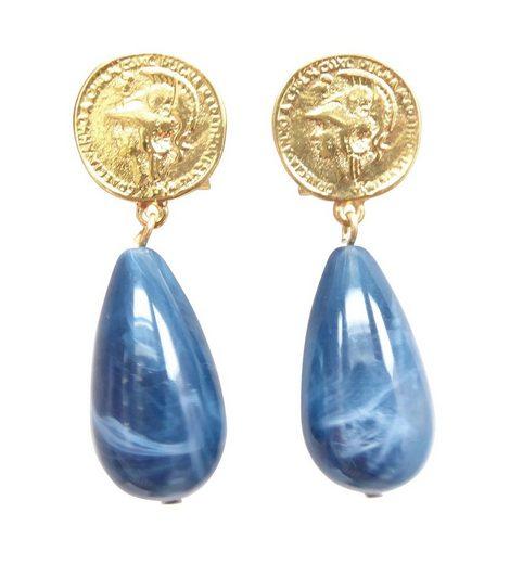 Mugello Paar Ohrstecker »Lydia blau marmoriert klassisch und elegant«, made in Germany JustWin