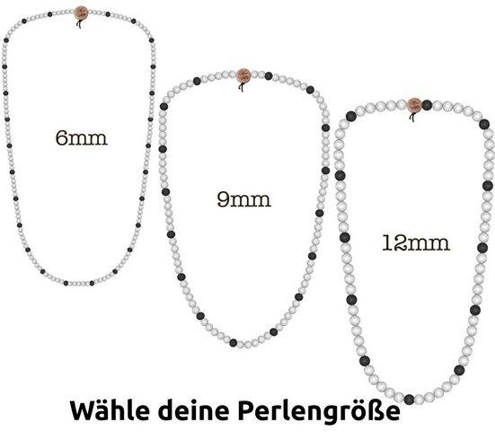 WOOD FELLAS Halsband »WOOD FELLAS Mode-Schmuck coole Holz-Kette Deluxe Pearl Necklace Hals-Schmuck Weiß/Schwarz«