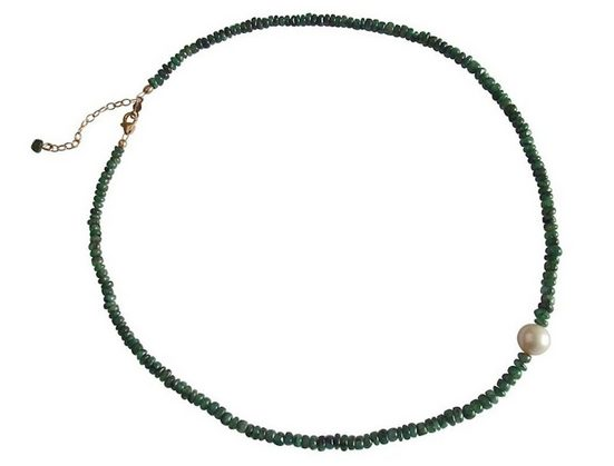 Gemshine Perlenkette »Smaragde mit Zuchtperle«, Made in Germany