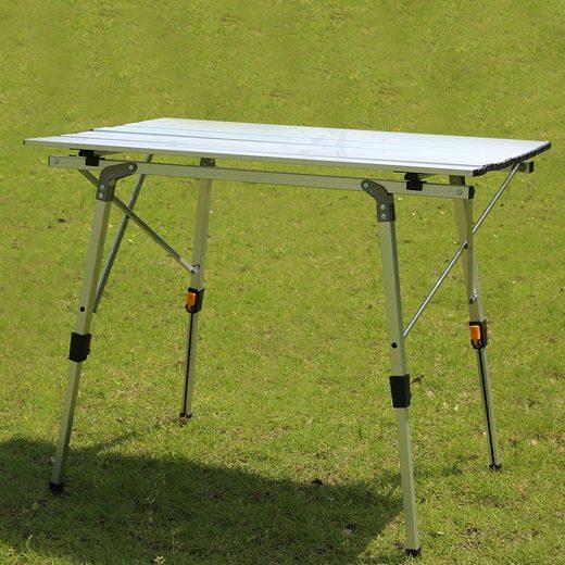 ALIC LIFE Campingtisch »Klapptisch AL«, Tragbar Gartentisch ultraleicht 90 x 53 x (45-65) cm Aluminium Reisetisch mit Tragetasche Beistelltisch Balkontisch