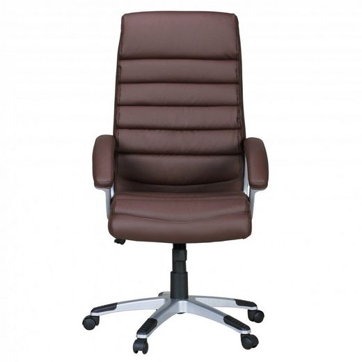 Amstyle Chefsessel »SPM1.038«, Bürostuhl VALENCIA Kunstleder Braun ergonomisch mit Kopfstütze, Design Chefsessel Schreibtischstuhl mit Wippfunktion, Drehstuhl hohe Rücken-Lehne X-XL 120 kg