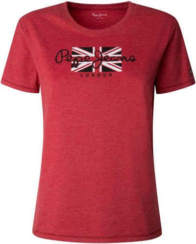 Pepe Jeans Print-Shirt »NEW VIRGINIA« mit klassischem Marken-Flaggen Frotprint im Brustbereich in klassischer Basic Passform
