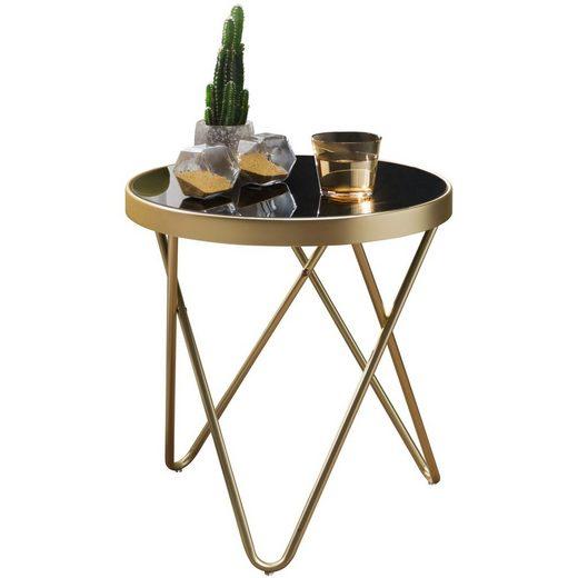 FINEBUY Beistelltisch »FB49709«, Design Beistelltisch DAINA 42 x 46 x 42 cm rund schwarz / Couchtisch matt Gold Designer Glas Wohnzimmertisch modern Glastisch mit Metallgestell Kleiner Sofatisch