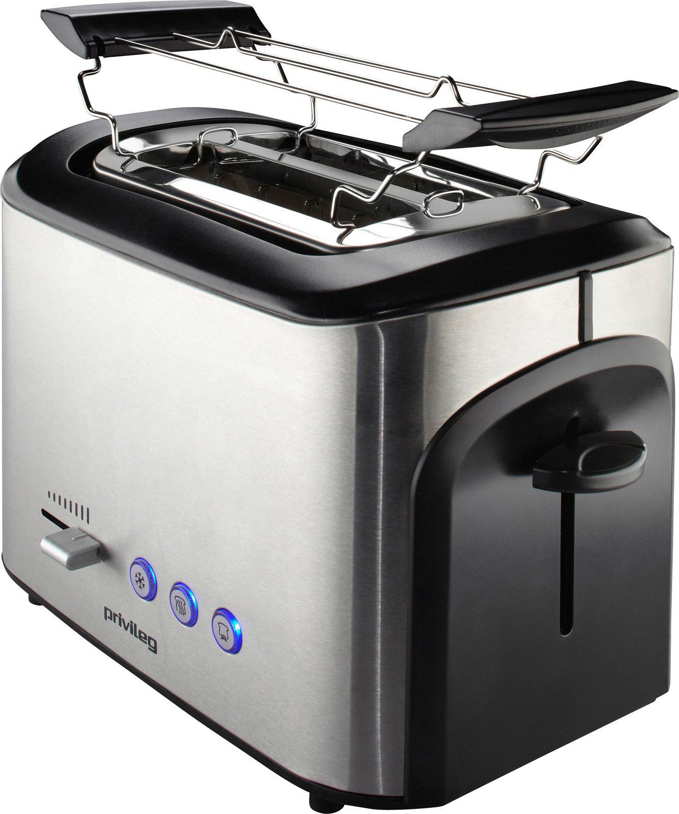 Privileg Toaster, mit Brötchenaufsatz, für 2 Scheiben, Edelstahl, max. 800 Watt