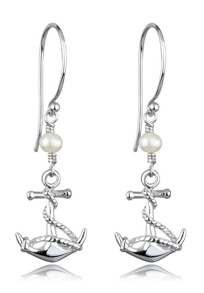 Elli Ohrringe »Anker Süßwasserzuchtperle Silber« in Weiß
