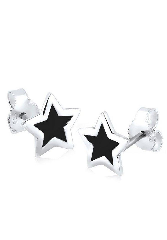 Elli Ohrringe »Stern Sterne Trend Astro Filigran 925 Silber« in Schwarz