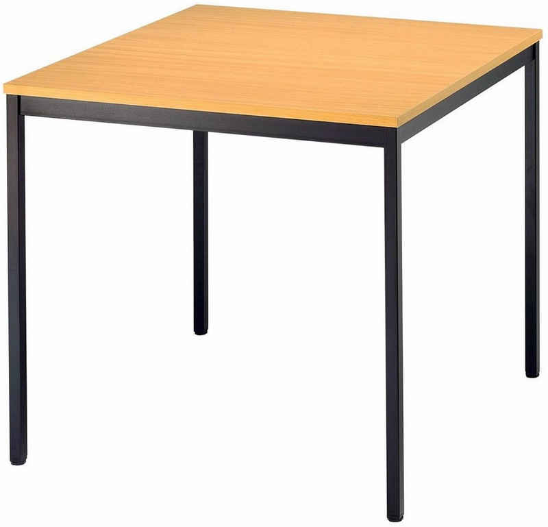 bümö Konferenztisch »OM-VS08«, Meetingtisch & Besprechungstisch System - Quadrat: 80 x 80 cm - Gestell: Schwarz, Dekor: Buche