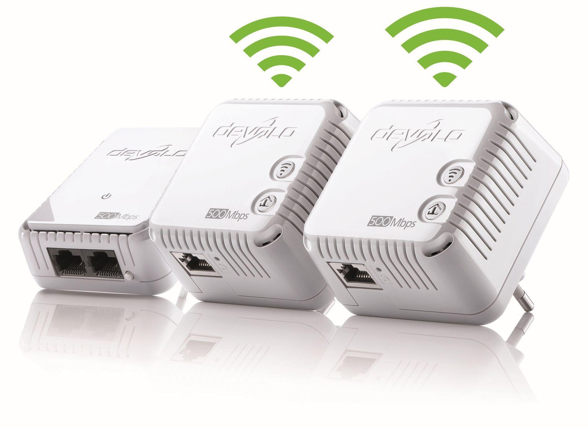 DEVOLO Powerline + WLAN »dLAN 500 WiFi Kit (500Mbit, 1xLAN, WLAN Repeater)«