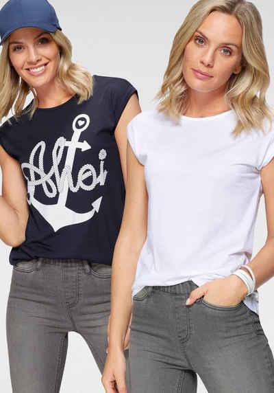 Flashlights T-Shirt (Packung, 2er-Pack) mit überschnittenen Schultern & kleinem Ärmelaufschlag
