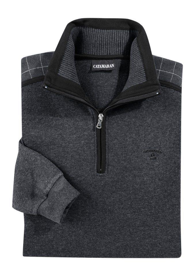 Catamaran Sweatshirt mit kontrastfarbiger Stickerei in grau-meliert