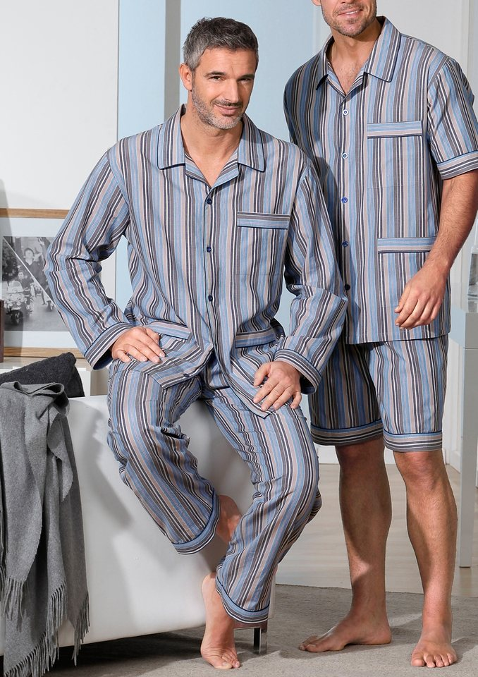 Schlafanzug, King's Club in blau-beige-gestreift