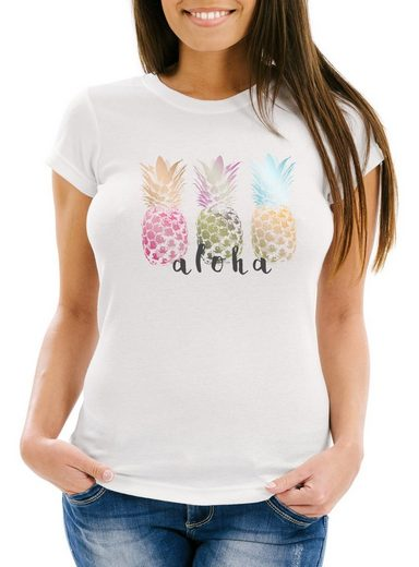 Neverless Print-Shirt »Damen T-Shirt Aloha Ananas Print Pineapple bunt Slim Fit Neverless®« mit Print