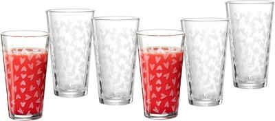 Ritzenhoff & Breker Longdrinkglas »Happy, Hearts«, Glas, 400 ml, 6-teilig