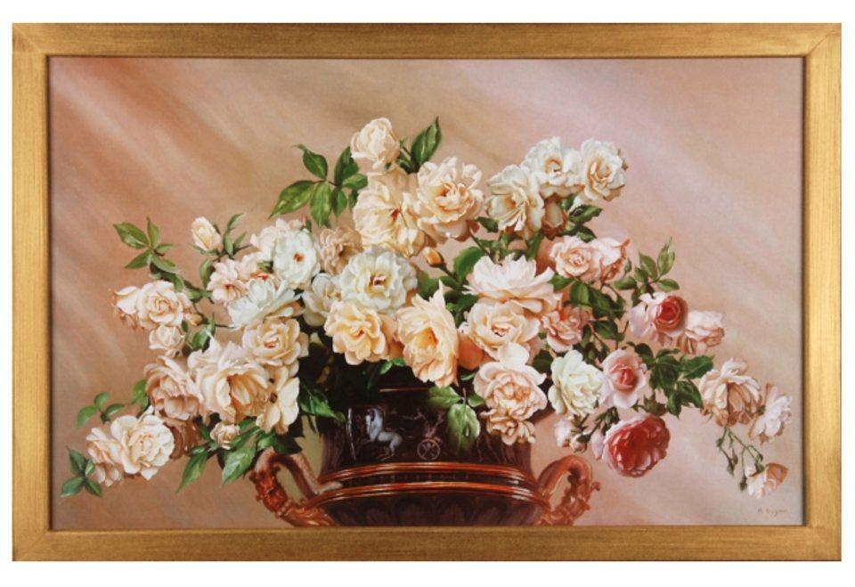 Home affaire Wandbild »White Roses« in goldfarben