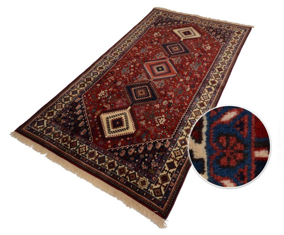 Unikat-Teppich, Parwis, »Persischer Yalameh Medaillon«, 200 000 Knoten/m², handgeknüpft in rot