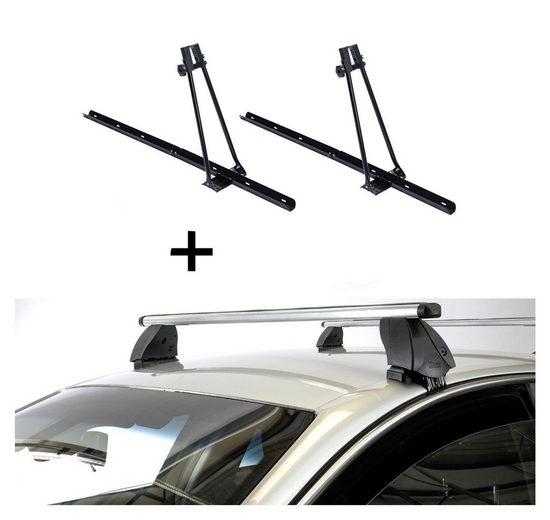 VDP Fahrradträger, 2x Fahrradträger ORION + Dachträger K1 PRO Aluminium kompatibel mit Peugeot 308 (5Türer) ab 13