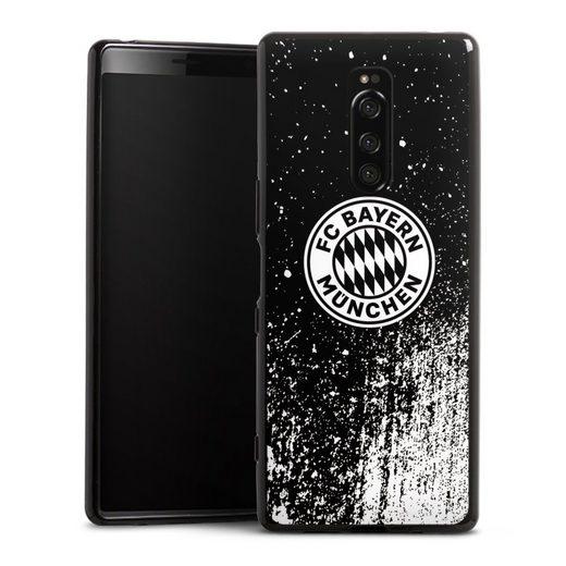 DeinDesign Handyhülle »Splatter Schwarz - FCB« Sony Xperia 1, Hülle FCB Offizielles Lizenzprodukt FC Bayern München