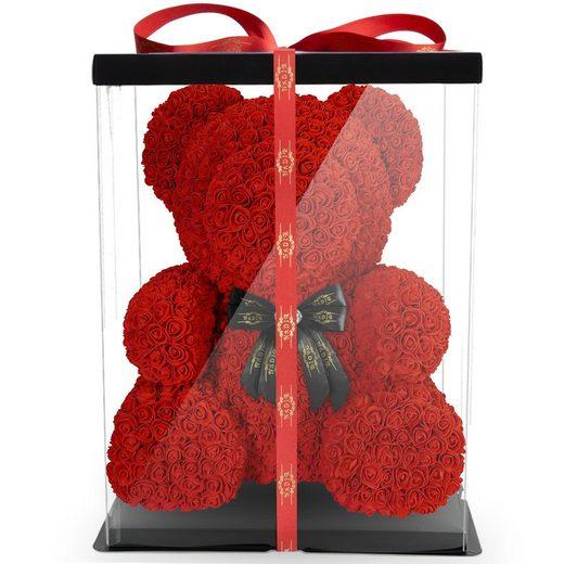 Kunstblume »NADIR Rosenbär 70 cm mit Schleife / inklusive vorverpackter Geschenkbox/ Valentinstag Muttertag Geburtstag Jahrestag Infinity Rosebear Bär aus Rosen Flower Teddy Teddybär Blütenbär« Künstliche Pflanze, NADIR