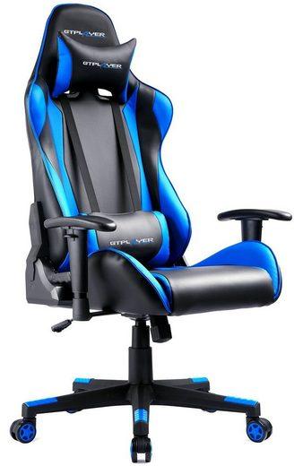 GTPLAYER Gaming-Stuhl, Bürostuhl Zocker Gamer Ergonomischer Stuhl Einstellbare Armlehne Einteiliger Stahlrahmen Einstellbarer Neigungswinkel