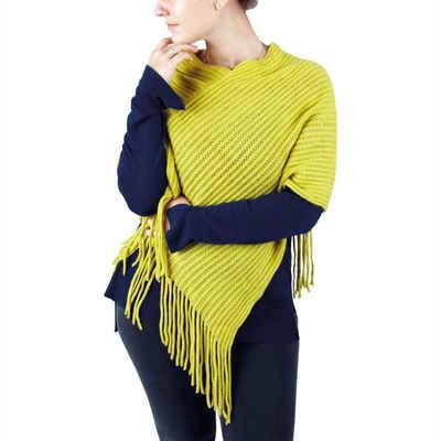Bestlivings Strickponcho Strick-Poncho mit Fransen, Poncho-Schal für Damen im Wickeldesign, Einheitsgröße