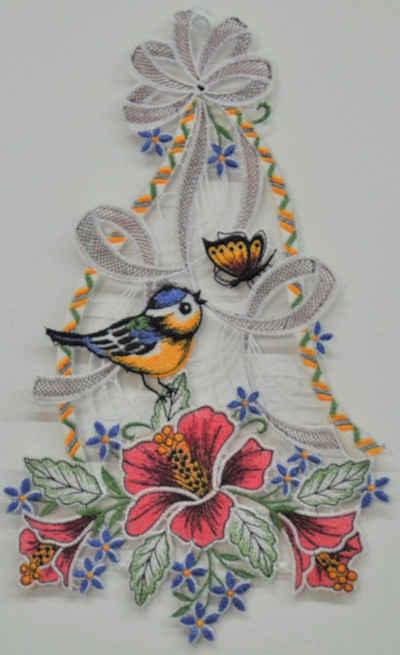 Stickereien Plauen Fensterbild »Vogel mit Hibiskus«