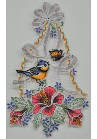 Stickereien Plauen Fensterbild »Vogel su Hibiskus«
