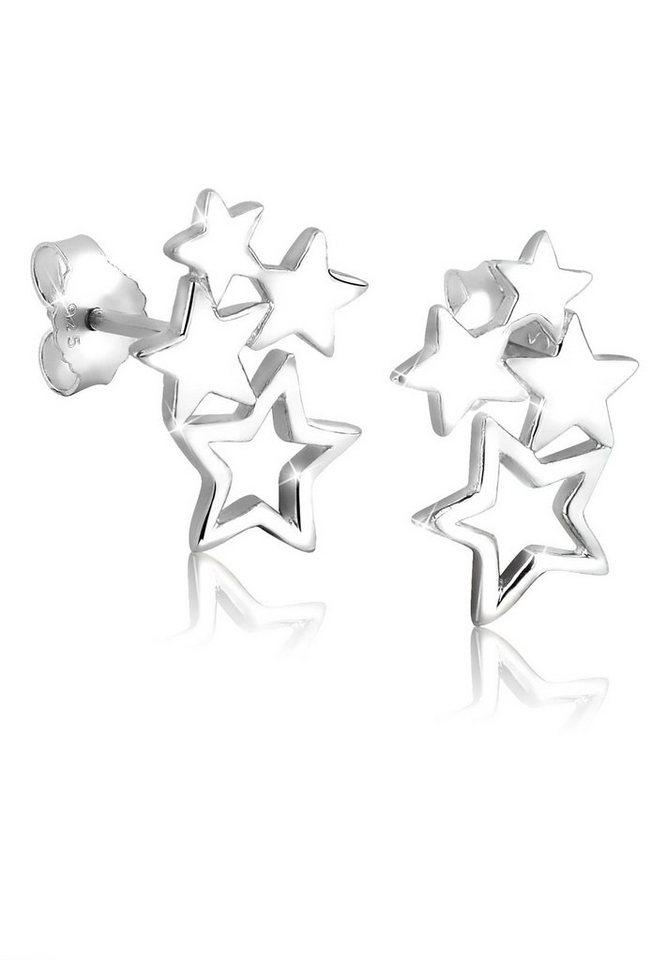 Elli Ohrringe »Sterne Stern Astro Trend Filigran 925 Silber« in Silber