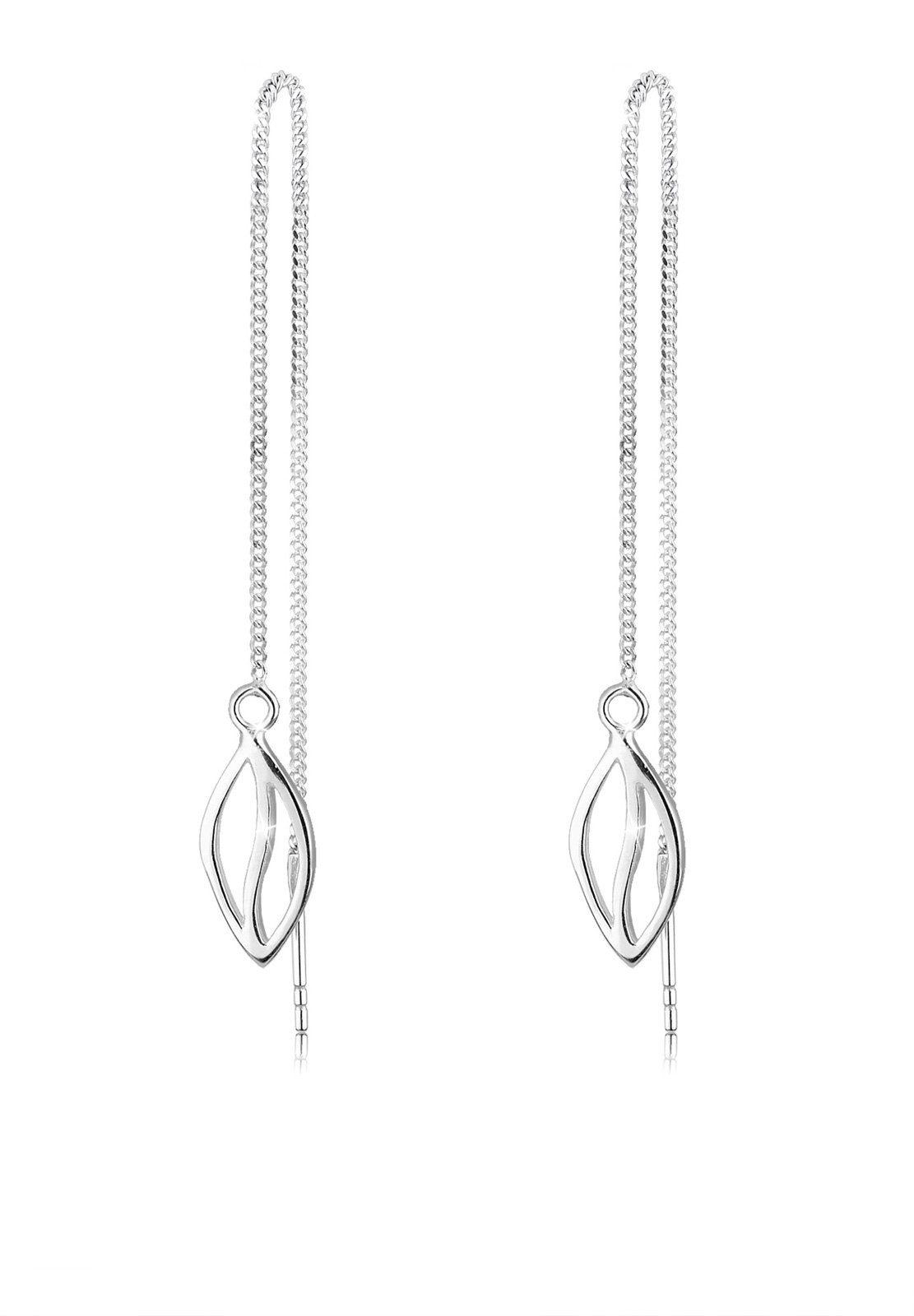 Filigrane Blatt Ohrringe Ohrhänger Earrings mit 925 Silber Ohrhaken