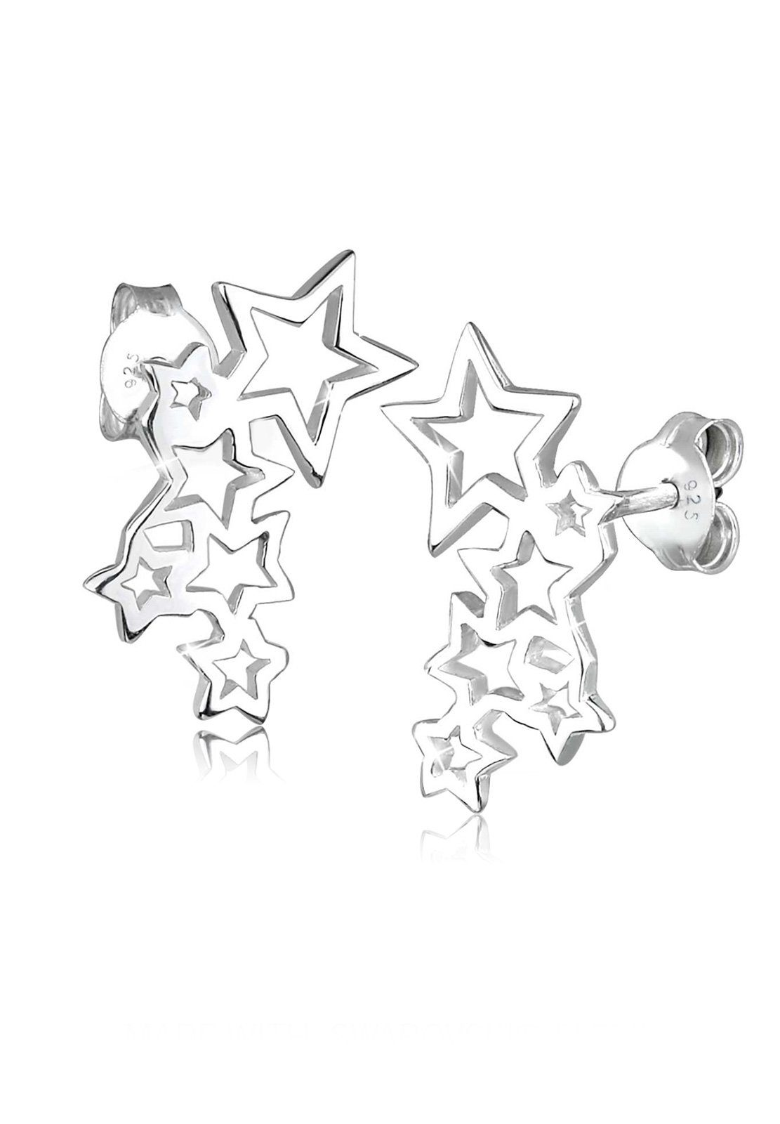 Elli Ohrringe »Sterne Astro Trend Cut Out Filigran 925 Silber«