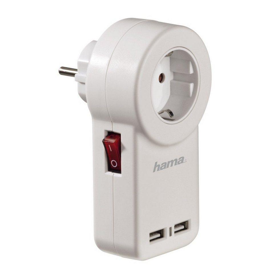 Hama USB-Steckdosenadapter mit Schalter in Weiß