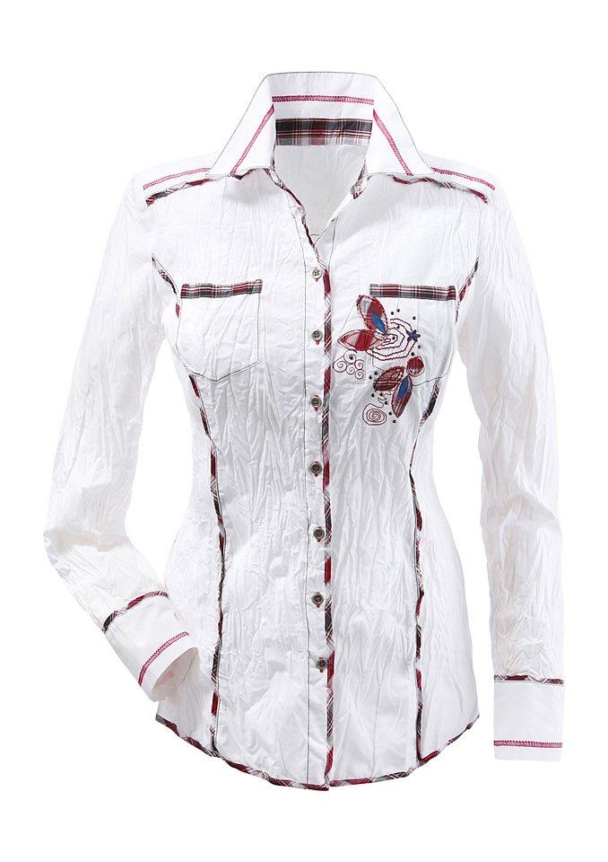Création L Bluse mit Glitzersteinchen-Verzierung in weiß