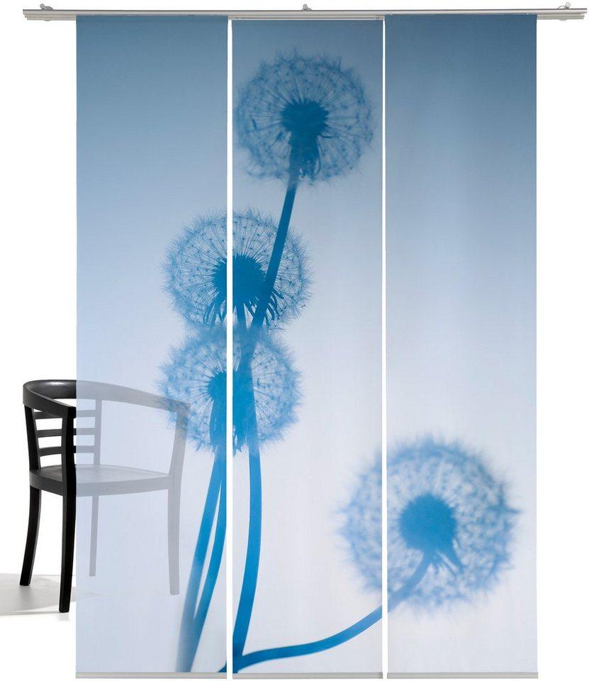Schiebegardine, Emotiontextiles, »Löwenzahn Foto«, Einzelpaneele 60x260cm (3-tlg. inkl. Zubehör) in Weiß-blau