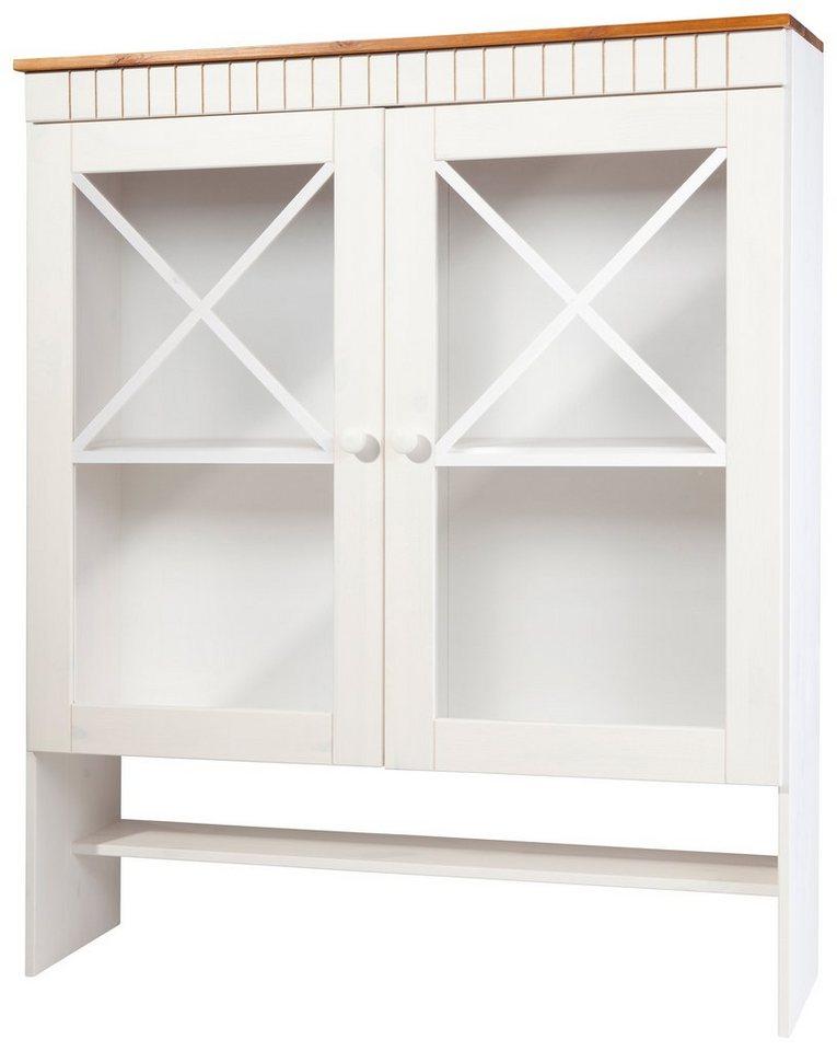 Vitrinenaufsatz »Aneby«, Höhe 120 cm in weiß-honigfarben